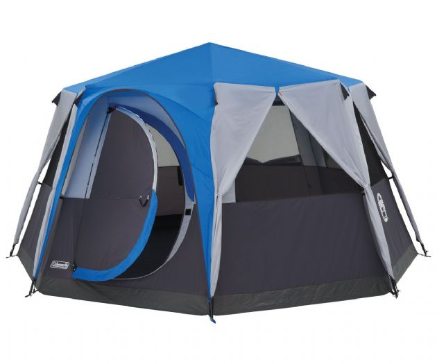 Coleman Cortes Octagon 8 Man Family Camping Tent Blue - Grasshopper Leisure